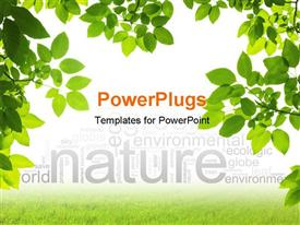 PowerPoint template displaying green Leaves Foreground on white background