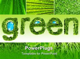 PowerPoint template displaying green word wrapped by grass with globe in the word 3D depiction in the background.