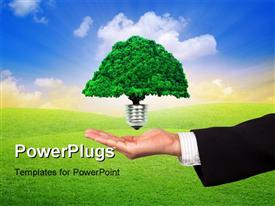 PowerPoint template displaying eco energy business concept and businessman's hand in the background.