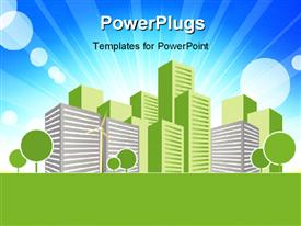PowerPoint template displaying real estate concept vector art design with building in green and blue sky in background