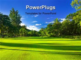 PowerPoint template displaying golf field at island Praslin Seychelles - sport background
