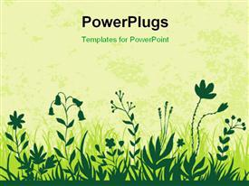 PowerPoint template displaying vector illustration of flowers in green