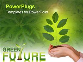 PowerPoint template displaying green plant in women hands in the background.
