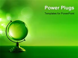 PowerPoint template displaying 3D model of green glass globe on green background