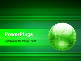 PowerPoint template displaying 3D green globe on a green striped background