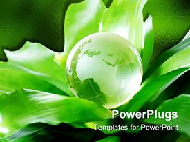 PowerPoint template displaying globe on plant representing environmental protection concept Europe version in the background.
