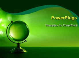 PowerPoint template displaying a greenish globe with greenish background