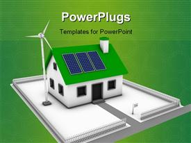 PowerPoint template displaying green energy conceptual rendering of a house with a wind turbine and solar panels in the background.