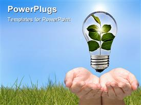 PowerPoint template displaying two hands holding a light bulb with stem of leaves growin inside of it go green