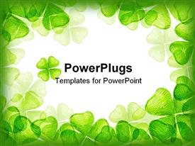 PowerPoint template displaying drawing of beautiful crayon drawing about four leaf clover