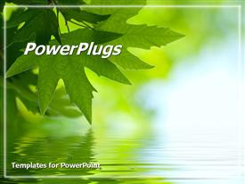PowerPoint template displaying beautiful nature green leaf touching the water relaxation serene reflection of one self