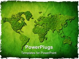 PowerPoint template displaying global map with grass texture on green background