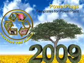 PowerPoint template displaying green year 2009 with tree environmental theme on white background