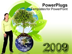 PowerPoint template displaying woman next to a tree growing from the earth over in the background.