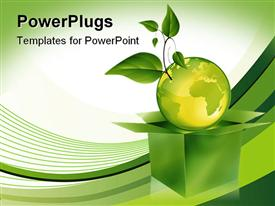 PowerPoint template displaying a beautiful depiction of a globe along with leaves and greenish background