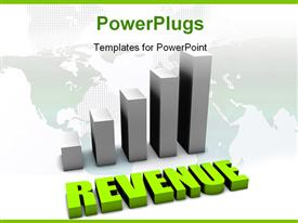 PowerPoint template displaying bar chart over world map with green rendering of text REVENUE