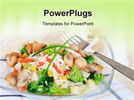 PowerPoint template displaying healthy food rice salad with mushrooms and vegetables