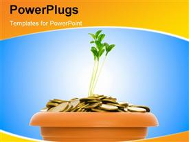 PowerPoint template displaying a pot filled with gold coins and bluish background