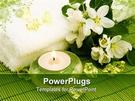 PowerPoint template displaying body relax composition with aromatic candle, flowers and crystal