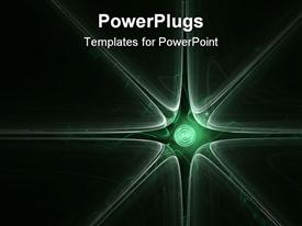 PowerPoint template displaying abstract background with green spiral and sunburst