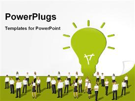 PowerPoint template displaying group of young business people standing in front of a green light bulb