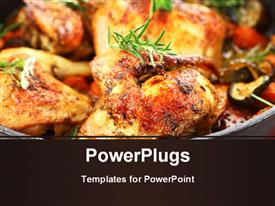 PowerPoint template displaying tasty grilled chicken with vegetable and herbs
