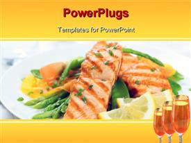 Grilled salmon with asparagus, pea, yellow peppers, carrots and spring onions on white plate template for powerpoint