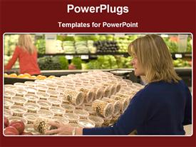 PowerPoint template displaying woman in grocery store shops for food