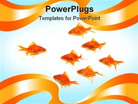 PowerPoint template displaying depiction of lots of gold fishes on a white background