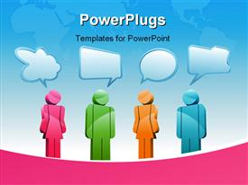 PowerPoint template displaying various people thinking in a nice environment