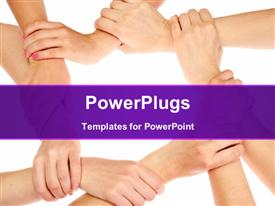 PowerPoint template displaying group of young people's hands one in other