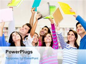 Happy group of students celebrating with arms up powerpoint theme