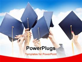 PowerPoint template displaying hands raising graduation caps in celebration over cloudy sky