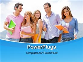 PowerPoint template displaying a group of five students holding multi colored folders