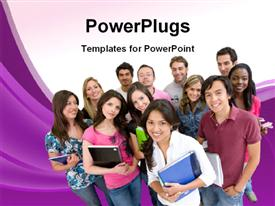 PowerPoint template displaying group of happy students with books