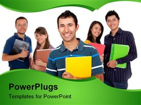 PowerPoint template displaying five students holding colorful big notebooks in hands, one boy student in front of two girls and two boys students faded in the background