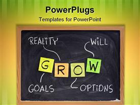 ROW (goals reality options will) - life coaching motivation acronym chalk handwriting and sticky notes powerpoint theme