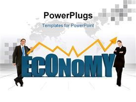 PowerPoint template displaying two professionals with the word economy
