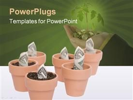 PowerPoint template displaying dollar bills growing from brown clay pots with hand filled with gold coin