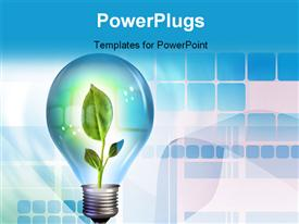 PowerPoint template displaying a bulb with a plat inside and bluish background