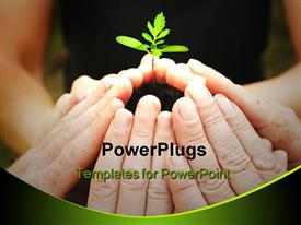 PowerPoint template displaying a beautiful depiction of a number of people caring for a plant