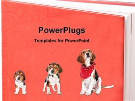 PowerPoint template displaying three dogs with one in a bandanna on a large red book