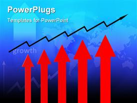 PowerPoint template displaying five red colored arrows with a long zigzag arrow over them