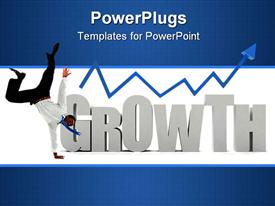 PowerPoint template displaying business man with the word growth