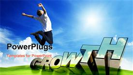 PowerPoint template displaying 3D text GROWTH, and man jumping with hands raised on green garden