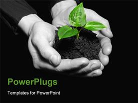 PowerPoint template displaying hands holding sapling in soil on black in the background.