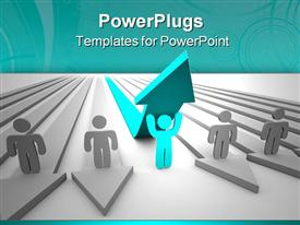 PowerPoint template displaying one figure stands with arms up in joy that his success tops his competitors in the background.