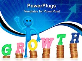 PowerPoint template displaying smiling, waving blue figure standing next to piles of coins with letters spelling Growth