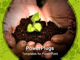 PowerPoint template displaying taking care of new development or the environment in the background.