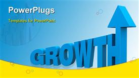 PowerPoint template displaying 3D rendered word GROWTH on blue background